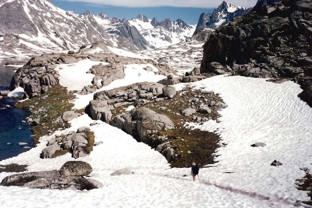 Mark hiking down into Titcomb basin